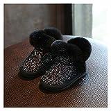 Youpin Neue Winter Mädchen Stiefel Plüsch Kleinkind Kinder Schneeschuhe Kaninchen Pelz Weiche Sohle Warme Baby Kinderstiefel (Color : Black, Shoe Size : 8(Insole 15cm))