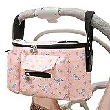 Kinderwagen Organizer Universal mit Isolierten Getränkehalter, 600D Oxford, Buggy Kinderwagentasche Baby Zubehör mit Reißverschlusstasche, Schultergurt und Stauraum für Windeln, Handys (Rosa)