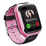 GPS Kinder Smartwatch Telefon - Touchscreen Kinder Smartwatch mit Anruf Sprachnachricht SOS Taschenlampe Digitalkamera Wecker, Geschenk für Kinder Junge Mädchen Student Pink
