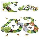 TONZE Dinosaurier Spielzeug Autorennbahn Rennbahn Jurassic Park Cars Spielzeug Geschenk für Kinder 3 4 5 6 Jahren Mädchen Jungen mit 1 Auto Elektroauto und 8 Dinosaurier Figuren