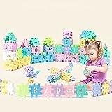 Stapeln Würfel Bausteine, Regenbogen Farbe Bausteine Kit,pädagogisches Spielzeug für Kinder, Puzzle Geschenk junge Mädchen, Spielzeug Stapeln Spiel, geometrische digitale Bausteine