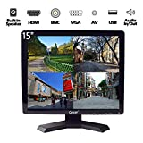 15-Zoll Profi CCTV-Monitor VGA HDMI AV BNC, 4:3 HD-Display (LED-Hintergrundlicht) 1024x768 Pixel LCD-Sicherheitsbildschirm mit USB-Laufwerksplayer für Heim- / Shop-Überwachungskamera STB PC usw.