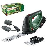 Bosch Akku Grasschere AdvancedShear 18V-10 (1 Akku 2,0 Ah, 18-Volt-System, schneidet bis zu 85 m² pro Akkuladung, mit Strauch- und Grasscherenmesser, im Karton)