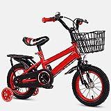 ZEMENG Kindermotorrad, Spielzeugfahrrad für Kinder mit Korb, Kinderfahrrad mit Pedalen für Jungen und Mädchen, doppelte V-Bremse Mini BMX, Anfänger, Unisex,Rot,16'