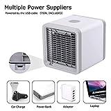 OMCCXO Mobile klimageräte, USB Mini Air Cooler, 3 in 1 Klimaanlage, Luftbefeuchter und Luftreiniger, Zuhause und Büro luftkühler, 3 Leistungsstufen, 7 LED-Leuchten