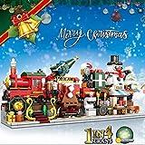 CCOPHTY Weihnachten Adventskalender 2021, DIY Weihnachtsspielzeug 838 Teile 4 in 1 Winter Weihnachtszug mit Lichter, Schneemann Modular Bausteine Kompatibel mit Lego