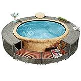 Famehours Whirlpool-Umrandung Grau Poly Rattan