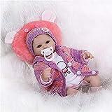 Minidiva Lebensechte Puppen Babys, Triplespark Handgemachtes Reborn Puppe Mädchen Komplett Silikon Vinyl Realistische Baby Puppe 15.7' 40 cm Geburtstagsgeschenk RB082, EU71-Zertifizierung