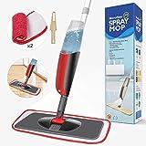 Aiglam Sprühwischer,300ML Bodenwischer mit Sprühfunktion für schnelle Reinigung, Spray Mop mit Sprühdüse, Wischer mit Wassertank und 2-Mikrofaserbezug (Rot)