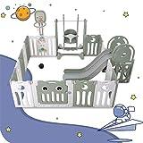 WZFANJIJ Baby Laufgitter mit Tür und Spielzeugboard, Laufstall aus Kunststoff, Absperrgitter, Krabbelgitter, Schutzgitter für Kinder im Alter von 3 Monaten bis 6 Jahren,Green