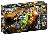 PLAYMOBIL Dino Rise 70625 Doppelte Verteigungspower: Dinosaurier Spinosaurus mit Schutzpanzer und Kanonen und seinen Teammitgliedern Samu und Ayla, Ab 5 Jahren