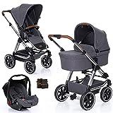 ABC Design 3in1 Kinderwagen Set Condor 4 Air - Kombikinderwagen mit Luftreifen, Babywanne,Sportwagen und Babyschale inkl. Zubehör - Diamond Special Asphalt