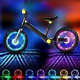 Eyscoco LED Kinder Roller Licht,Fahrrad Rad Lichter 7 Farben 18 Modi Wasserdicht USB Wiederaufladbar,Intelligente Induktion Roller Licht Kinder,LED Fahrrad Speichenlicht für Kinder