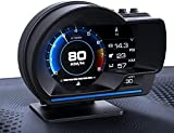 YUGUANG 4' HUD OBD2-Anzeige Auto-ECU Drehzahl Tachometer Kilometerzähler HUD Head-Up-Anzeige GPS 2-Systeme Turbo/Turbinendruck Öl/Wassertemperatur Kompasszeit Höhe Höhe Fehlercode Reinigen
