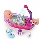 Brigamo Interaktive Puppen Badewanne mit funktionierender Dusche, inkl. Baby Badepuppe und viel Zubehör ❀