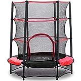 AOKCOS 4.5 ft Kindertrampolin mit Sicherheitsnetz und Sicherheitspad - Kleine runde Trampoline für Kleinkinder Indoor Outdoor Springen, Rot RT137001PR