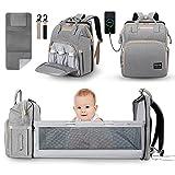 JUNSTAR Baby Wickelrucksack Wickeltasche mit Wickelauflage, Babytasche Große Kapazität Baby Reisetasche mit 1 hautfreundlichen Wickelunterlagen für Neugeborene, USB-Anschluss ,Grau