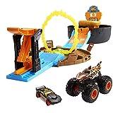 Hot Wheels GYN01 - Monster Trucks Stunt Reifen Spielset mit Startrampe, 1 Hot Wheels-Auto im Maßstab 1:64 und 1 Monster Truck, für 4 bis 8Jahre