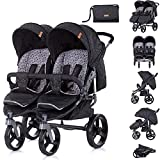 Chipolino Geschwisterkinderwagen Twix bis maximal 44 kg klappbar Wickeltasche, Farbe:schwarz