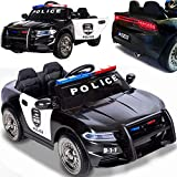 BPD Elektrisches Kinderauto Elektroauto US-Polizeiauto mit 12V/7Ah Akku weiche Eva-Reifen Ledersitz
