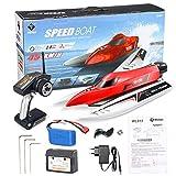 IT IF IT Ferngesteuertes Boot, 2,4GHz 45 KM/H Schnelle Geschwindigkeit RC Boot Spielzeug mit Motoren für Anfänger und Kinder