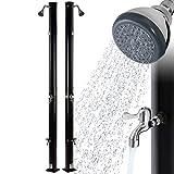 Arebos Solardusche   20 Liter   221 cm   mit integriertem Thermometer & Fußdusche   Schwarz   runder Duschkopf   Wassertemperatur bis 60°C   Gartenschlauch-Anschluss   inkl. Montagematerial