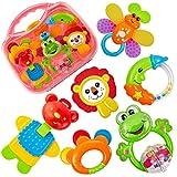 HERSITY Babyspielzeug ab 3 Monate Rassel Baby Beißring Set Greifspielzeug Neugeborene Musikspielzeug Baby Spielzeug ab 6 12 18 Monaten, 6 stücke Baby Geschenk