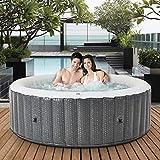 Miweba MSpa aufblasbarer Whirlpool 2021 Comfort Ottoman C-OM061 - für 6 Personen - 138 Luftdüsen - Pool aufblasbar - Rattan-Optik