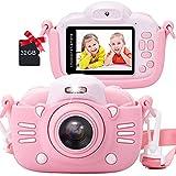 MINIBEAR Kinderkamera 6,1 cm 1080P HD Digitalkamera 30MP Spielzeugkamera für Mädchen Geschenke 1200mAh Kinder Camcorder Videorecorder mit 32G TF-Karte (Pink)