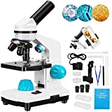 Kacsoo 40X-2000X Biologisches Mikroskop-Kit, Objektträger-Set, grober und feiner Fokus, Dual-LED-Leuchten für Kinder, Studenten, Erwachsene