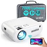 WiFi Bluetooth Beamer, WiMiUS 7000 L Mini Beamer Full HD Heimkino Projektor Support 1080P Video Projektor, 300' Display, 50% Zoom, 90000 Stunden LED