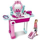 Dreamon 2 in 1 Schminktisch und Koffer Kinder Frisiertisch mit Licht Sound Schönheitsstudio für Mädchen (Rosa)