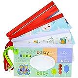Meetory 4 Stück Feuchttuch Tasche Wiederverwendbar Baby Wet Wipe Tasche, Reisebehälter für Feuchttücher, Wet Wipe Bag Feuchttücher Spender für oder Persönliche Umweltfreundlich Feuchttücherreisebox
