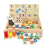 Babyhelen Montessori Mathematik Spielzeug Zahlenlernspiel aus Holz mit Zeichnung Holzbrett Spielzeug Lernspielzeug für Kinder 3 4 5 Jahre Alt