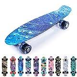 meteor Skateboard Kinder - Mini Cruiser Kickboard - Skateboard mädchen Rollen Board - Kunststoff Skateboards Deck - Retro Skateboard Jungen Mini Board - Skateboard Kinder miniboard (B-Galaxy)