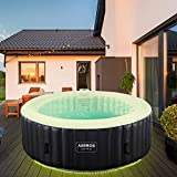 Arebos Whirlpool Santorini | automatisch aufblasbar | In & Outdoor | 6 Personen | LED Leuchtband | 130 Massagedüsen | 1000 Liter | Inkl. Abdeckung | Bubble Spa & Wellness Massage