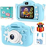 Bosszi Kinder Digitalkamera Mini Camcorder für Jungen und Mädchen | 2,0 Zoll Digitale Doppelkamera | 20.0MP HD Video Camcorder Anti-Drop Kinder Kamera als Geschenk - mit 32G SD-Karte(Blue)