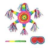 WFF Spielzeug Six Star Pinata-Partei-Dekoration Hangable Kinder Spielzeug mit Stock und Blindfold for 3-Jährige und Kinder Jungen-Mädchen-Geburtstags-Geschenke (Color : 1 Set)