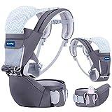 BabyPro Babytrage mit Hüftsitz, 9 ergonomische Positionen, Ganzjahres-Babytrage für Neugeborene Säuglinge Kleinkinder, Babytrage Wickelrucksack für Reisen und Stillen (Dunkelgrau)