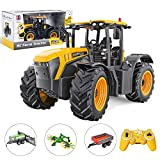 LOTFUN Double E RC Traktor für JCB FASTRAC 4220, 3-in-1 Tractor Modell mit 3 Zubehör & Licht, 1/16 Fernbedienung Baufahrzeug Spielzeug, Ferngesteuertes Auto - E359-003