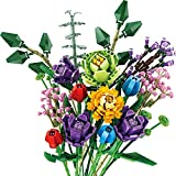 TRCS Bausteine Blumenstrauß, 999 Teile künstliche Blumen Konstruktionsspielzeug, Kreatives DIY Botanik Kollektion Kompatibel mit Lego 10280 Creator Expert