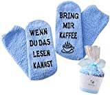 Geschenk für Frauen, WENN DU DAS LESEN KANNST BRING MIR KAFFEE SOCKEN, Muttertags-Geschenk, witziges Geburtstagsgeschenk für Freundin, Schwester (Blau-Kaffee)