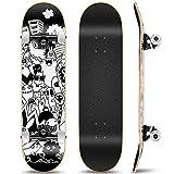 Outify Skateboard für Anfänger Mädchen Jungen, 31 Zoll Komplettes Standard Skateboard für Kinder Teens Erwachsene, 8 Lagen Ahorn Double Kick Deck Concave Cruiser Trick Skateboard für Sport im Freien