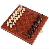 Schach Exquisite Tragbare Schachspiel Leder Folding Schachbrett aus Holz Anti-Rutsch-Schach-Stücke Eltern-Kind-Puzzle-Spiel-Wettbewerb Unterricht Schachspiel