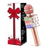 Fede Karaoke Mikrofon, Drahtloses Bluetooth Mikrofon für Kinder, Lustige Geschenke Spielzeug für Teenager Mädchen Jungen, Tragbares KTV Lautsprecher Recorder für Smartphone PC
