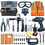 iBaseToy Werkzeugkoffer Kinder - 45 PCS Kinder Werkzeug mit Akkuschrauber, Kinder Bohrmaschine Spielzeug, Werkzeug Box Werkzeug Set Kinderspielzeug Rollenspiele Werkzeug für Kinder ab 3 Jahren
