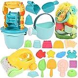 GOLDGE Sandspielzeug Set, 29Pcs Bunte Strandspielzeug Sandspielzeug Set mit Auto Eimer Schlossformen Netztasche Wasserspielzeug für Jungen Mädchen