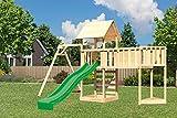 Akubi Spielturm Lotti Einzelschaukelanbau Grün Mit Kletterwand ECO Mit Anbauplattform XL Mit Schiffsanbau Oben