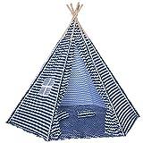 HOMCOM Kinder Teepee Tipi Zelt Kinderspielzelt Spieltipi mit 1 Bodenmatte 2 Kissen Polyester Tannenholz Lesen Spielen Ausruhen 3-8 jahren Blau+Weiß