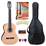 Classic Cantabile AS-861 Konzertgitarre 1/2 Starter-SET (akustische Klassikgitarre, geeignet für Kinder ab 5-9 Jahren, Tasche, Saiten, Noten, Plektren, Stimmpfeife) natur